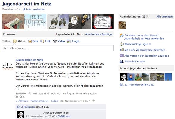 Jugendarbeit im Netz – Facebook-Page als Präsentationstool