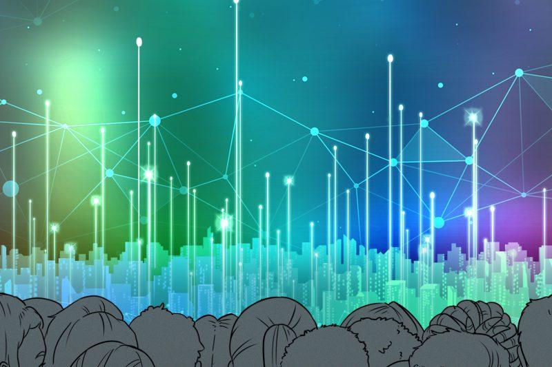 Menschenmenge vor virtueller Skyline einer Stadt