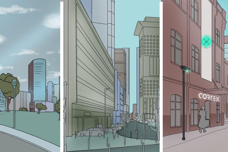 Illustrierte Ansichten der Stadt Canvas City