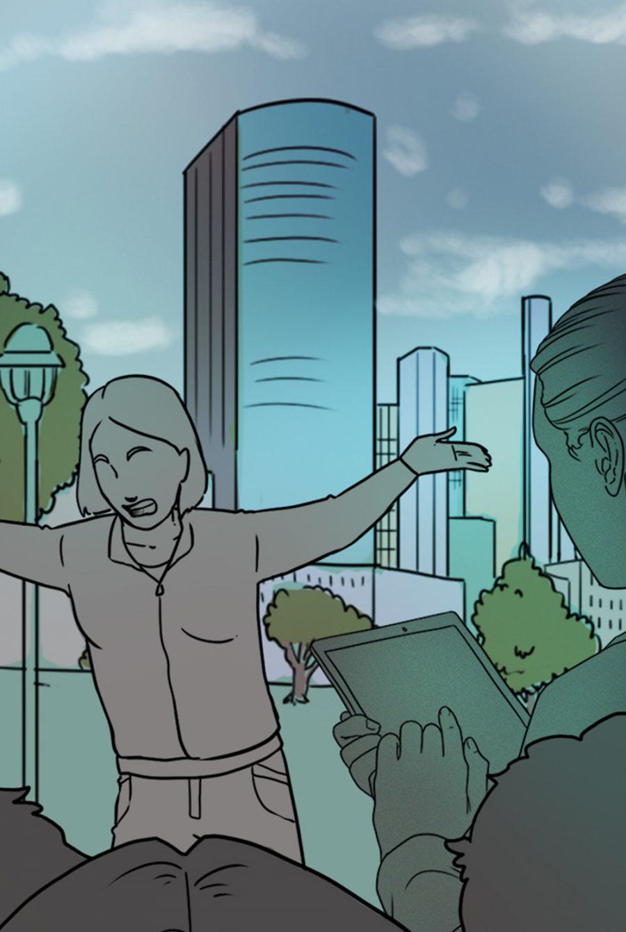 Screenshot aus dem Spiel, ein Mädchen diskutiert, ein Mädchen mit Tablet