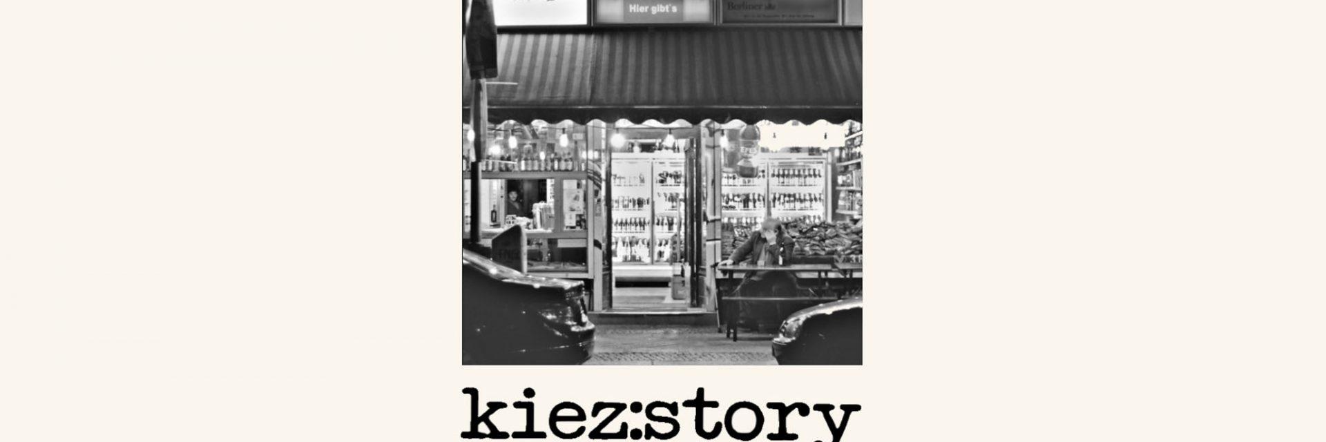 Header des Projekts kiez:story. Frontansicht eines Kiosk, darunter der Name als Schriftzug.
